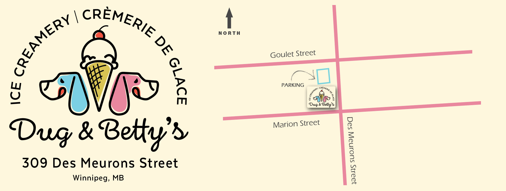 Map to Dug and Bettys